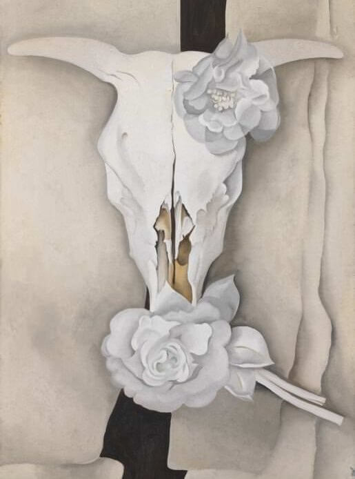cows skull with calico roses 1931 by georgia okeeffe